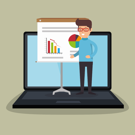 businessman working with laptop vector illustration design 일러스트