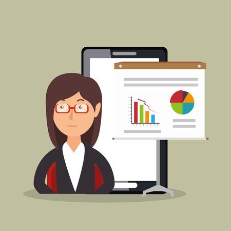 businesswoman working avatar character vector illustration design Illustration