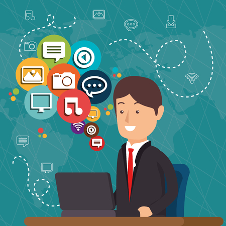 man working with social media icons vector illustration design Illustration