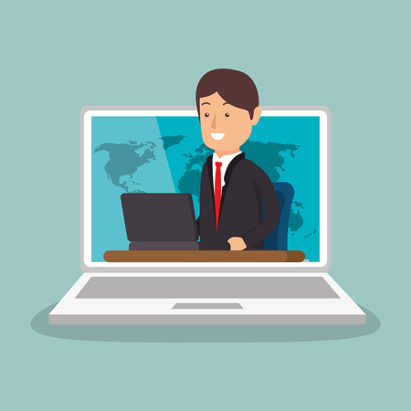 businessman working with laptop vector illustration design Ilustração