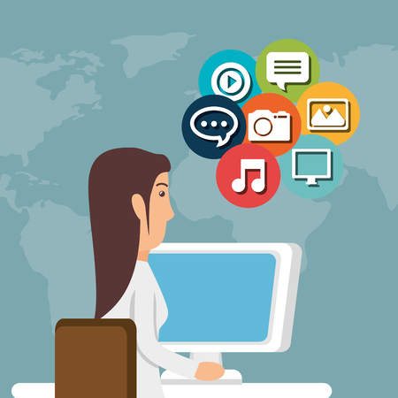woman working with social media icon vector illustration design Illustration