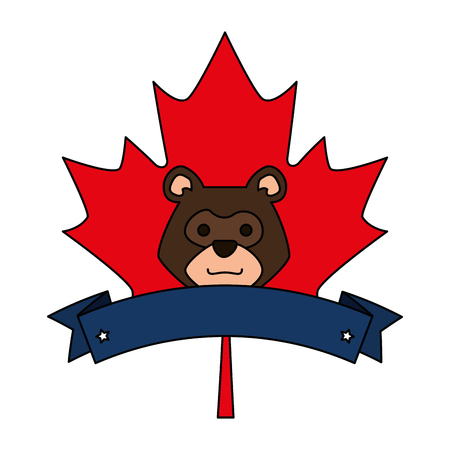bear grizzly in maple leaf vector illustration design