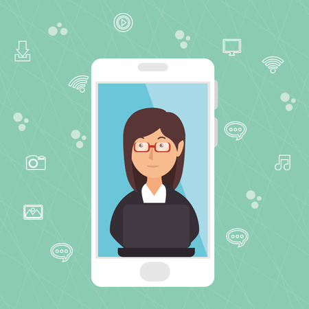 businesswoman working with smartphone vector illustration design 일러스트