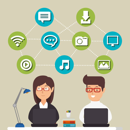 people working with social media icons vector illustration design