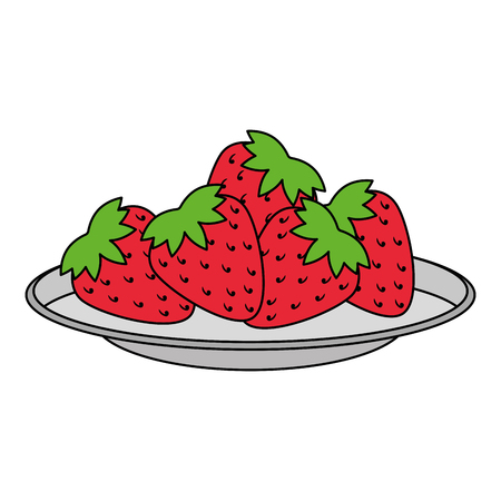 dish with fresh strawberries fruit vector illustration design