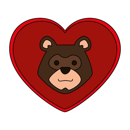 head bear grizzly with heart vector illustration design