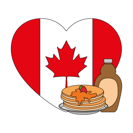 pancakes with maple syrup and heart canadian flag vector illustration design