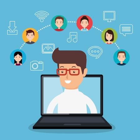 community social media people vector illustration design