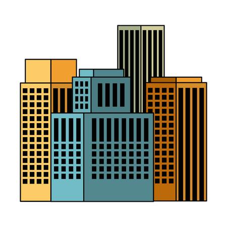 Diseño de ilustración de vector de icono de paisaje urbano de edificios exteriores
