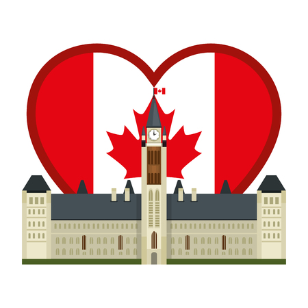 canadian parliament building with heart flag vector illustration design Фото со стока - 102900129