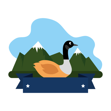 wild canadian duck in the landscape vector illustration design