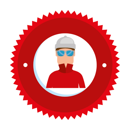 snowboarder man avatar character vector illustration design