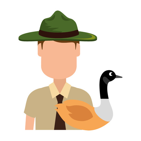 Canadian Ranger with duck vector illustration design