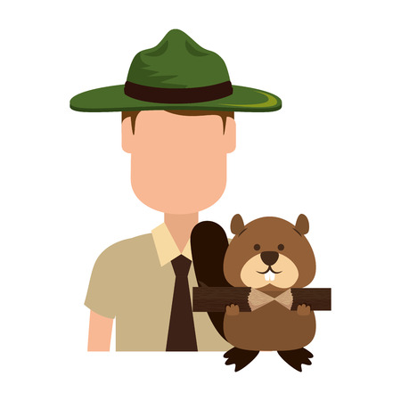 Canadian Ranger with marmot vector illustration design