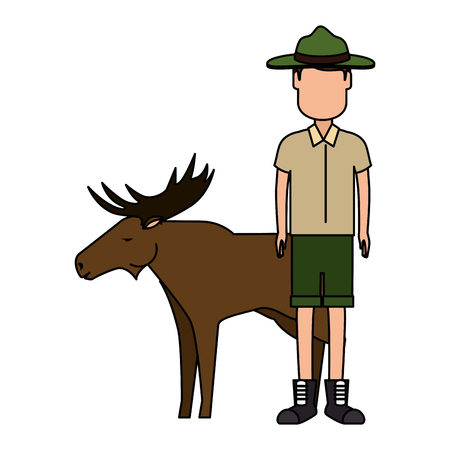 Canadian Ranger with elk vector illustration design