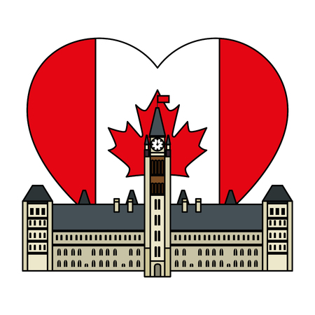 canadian parliament building with heart flag vector illustration design Фото со стока - 102900736