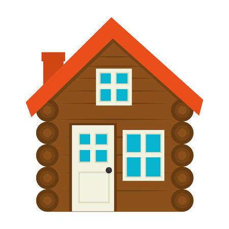 wooden house facade icon vector illustration design