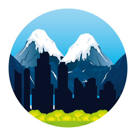 mountains with snow scene vector illustration design