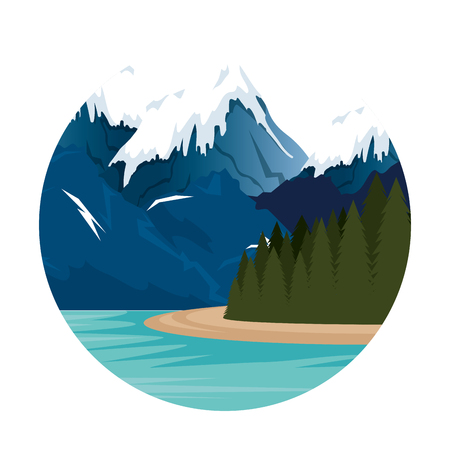 mountains with snow and river scene vector illustration design