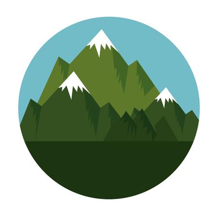 montagne con disegno di illustrazione vettoriale scena di neve