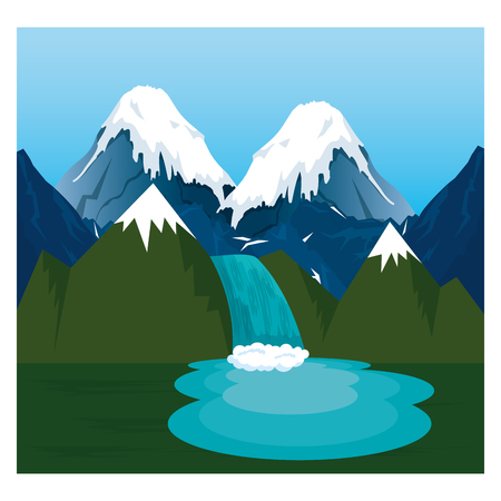 mountains with waterfall scene vector illustration design Banco de Imagens - 102903758