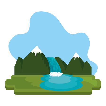 Montañas con escena de cascada, diseño de ilustraciones vectoriales
