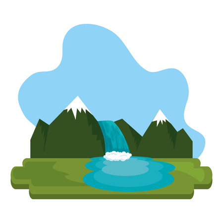 mountains with waterfall scene vector illustration design  イラスト・ベクター素材
