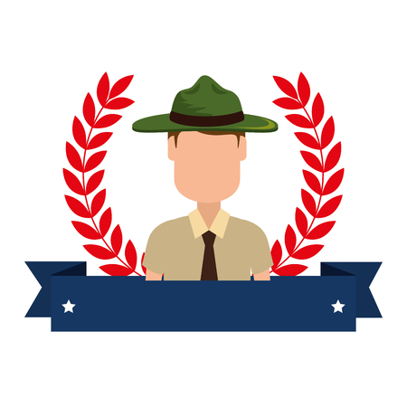 Canadian Ranger with ribbon frame avatar character vector illustration design