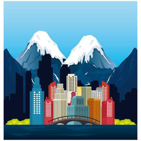 vancouver city with burrard bridge vector illustration design  イラスト・ベクター素材