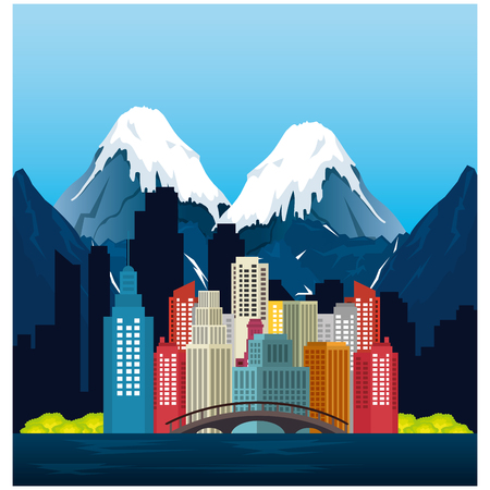 vancouver city with burrard bridge vector illustration design 일러스트