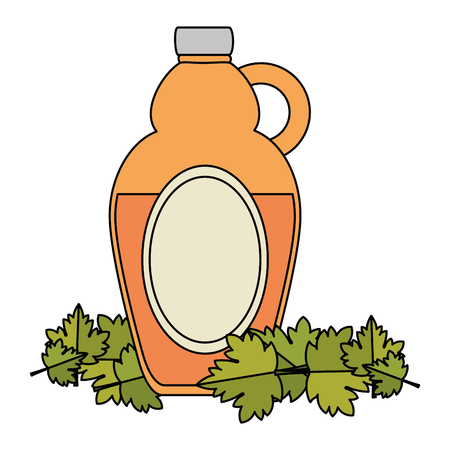 sweet maple syrup bottle and leafs vector illustration design Stok Fotoğraf - 102903843