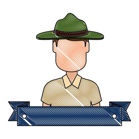 Canadian Ranger with ribbon frame avatar character vector illustration design
