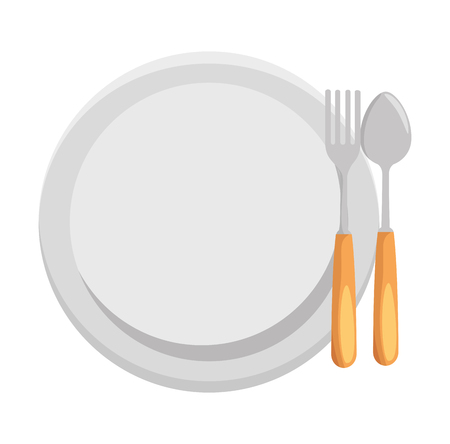 dish with fork and spoon vector illustration design Illusztráció