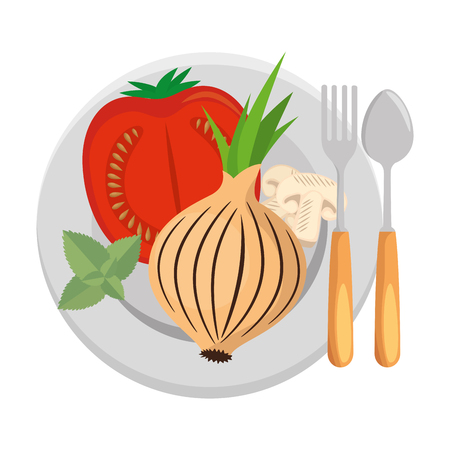 fresh tomato slide and onion healthy food vector illustration design