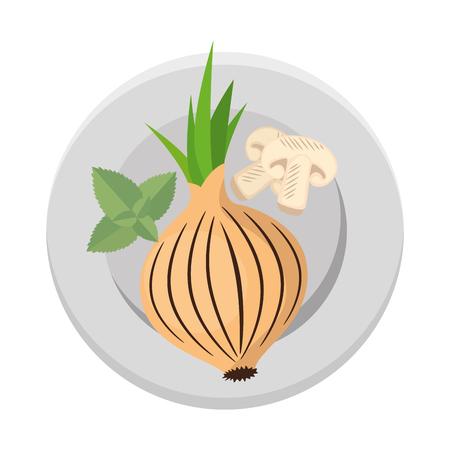 fresh onion in dish vegetarian food vector illustration design