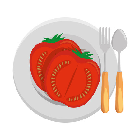fresh tomato slide with plate and cutlery healthy food vector illustration design Illustration