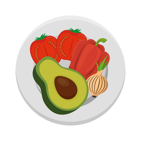 fresh avocado with peper and tomato vegetarian food vector illustration design