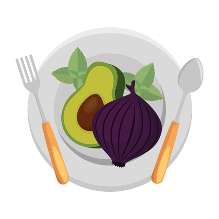 fresh avocado with beet vegetarian food vector illustration design
