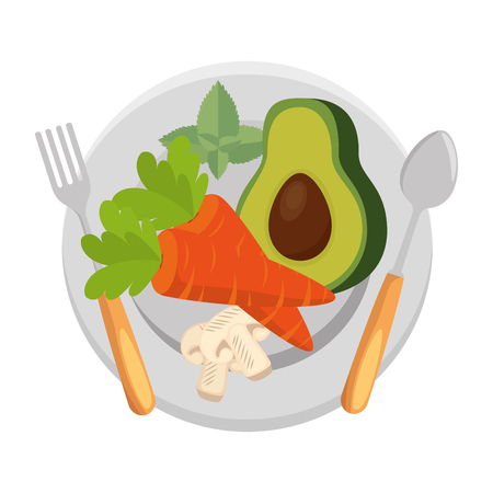 fresh avocado with carrot and mushroom vegetarian food vector illustration Standard-Bild - 102905308