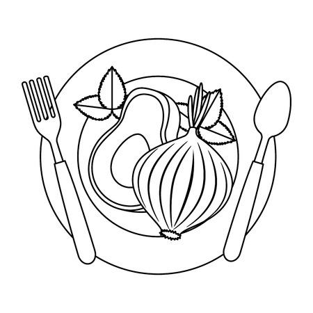 fresh avocado with beet vegetarian food vector illustration design