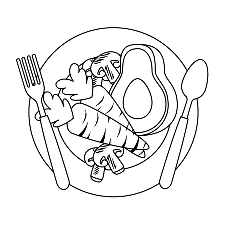 fresh avocado with carrot and mushroom vegetarian food vector illustration Standard-Bild - 102905251