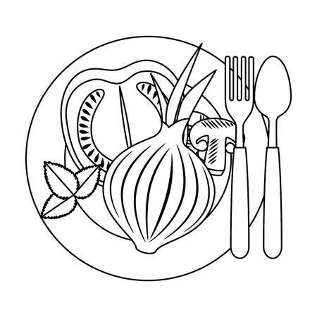 fresh tomato slide and onion healthy food vector illustration design