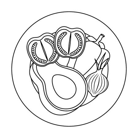 fresh avocado with peper and tomato vegetarian food vector illustration design
