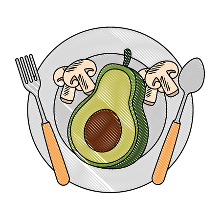 fresh avocado in dish with mushroom vegetarian food vector illustration design  イラスト・ベクター素材
