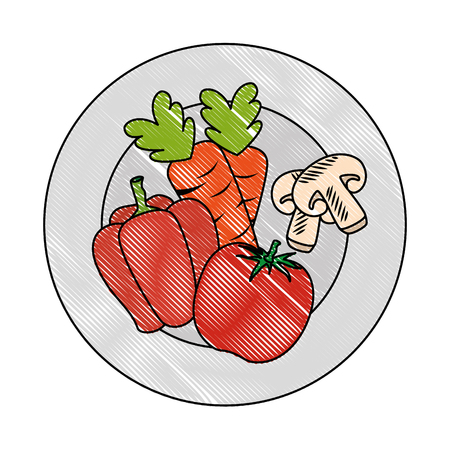 fresh tomato and peper healthy food vector illustration design