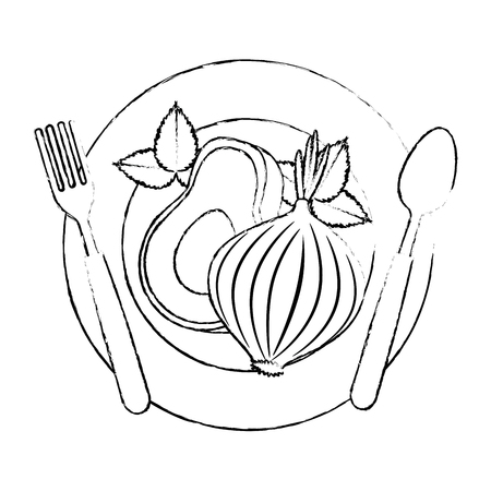 fresh avocado with beet vegetarian food vector illustration design Standard-Bild - 102882738