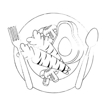 fresh avocado with carrot and mushroom vegetarian food vector illustration Standard-Bild - 102882762