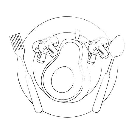 fresh avocado in dish with mushroom vegetarian food vector illustration design Standard-Bild - 102905376