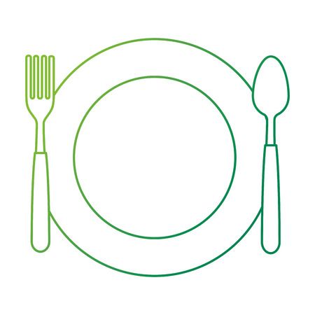 dish with fork and spoon vector illustration design Ilustração