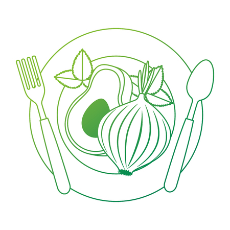 fresh avocado with beet vegetarian food vector illustration design Standard-Bild - 102908391